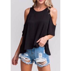 LUSH black cold shoulder blouse
